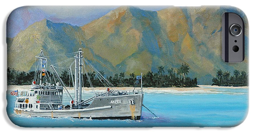 Seascape IPhone 6 Case featuring the painting Uss Reluctant Anchored Off Ennui by Glenn Secrest