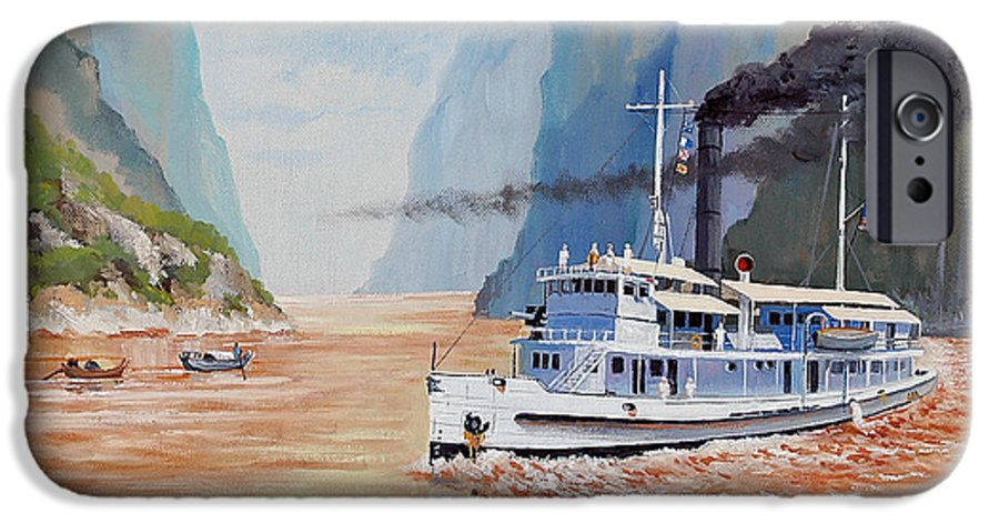 the Sand Pebbles IPhone 6 Case featuring the painting Uss San Pablo On Yangtze River Patrol by Glenn Secrest