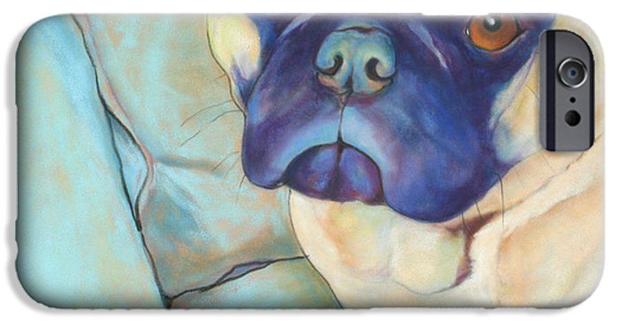 Pug IPhone 6 Case featuring the pastel Valentino by Pat Saunders-White