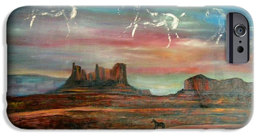 Landscape IPhone 6 Case featuring the painting Valley Of The Horses by Darla Joy Johnson