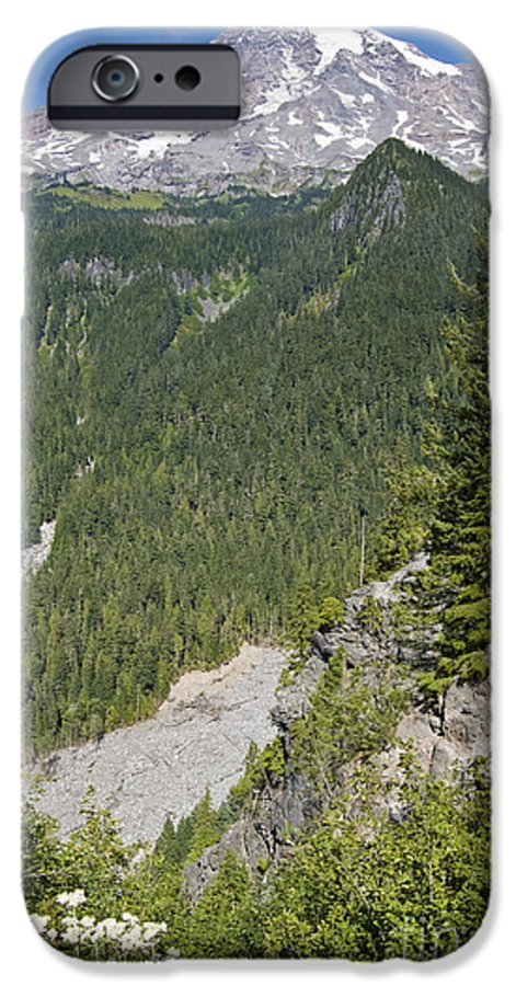 Mt. Rainier IPhone 6 Case featuring the photograph Valley View Of Mt. Rainier by Larry Keahey