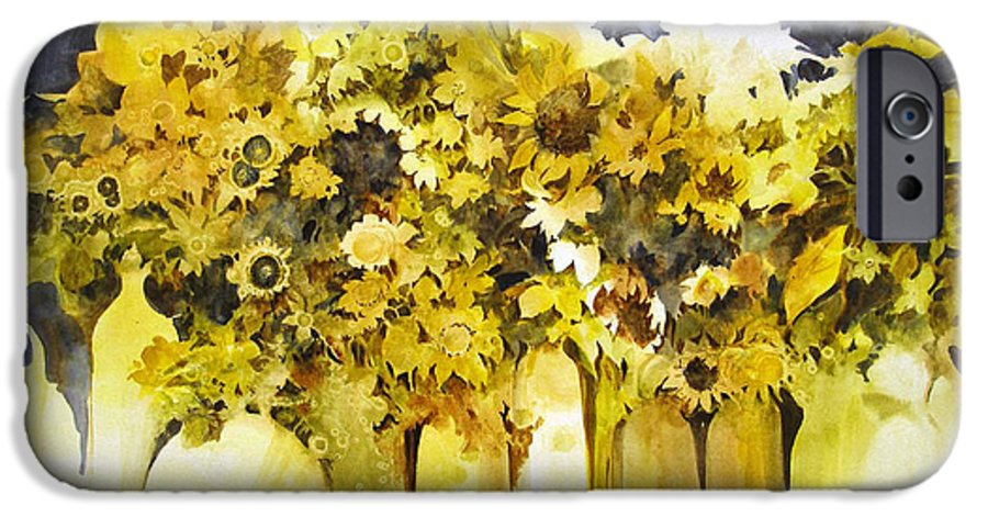 Yellow Flowers;sunflowers;vases;floral;contemporary Floral; IPhone 6 Case featuring the painting Vases Full Of Blooms  by Lois Mountz