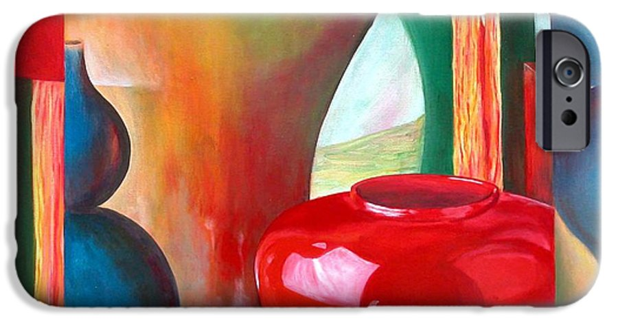 Still Life IPhone 6 Case featuring the painting Vases by Muriel Dolemieux