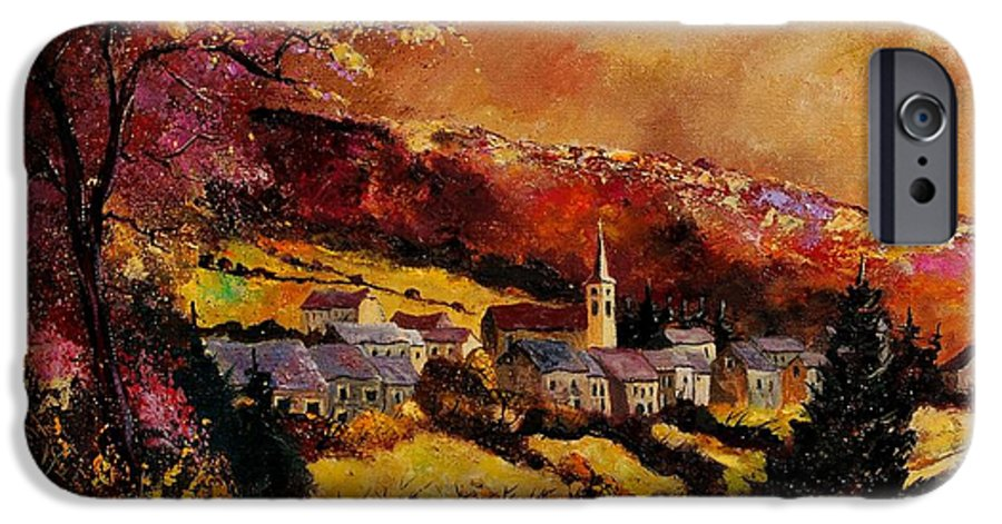River IPhone 6 Case featuring the painting Vencimont Village Ardennes by Pol Ledent