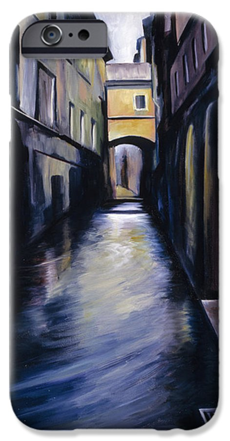 Street; Canal; Venice ; Desert; Abandoned; Delapidated; Lost; Highway; Route 66; Road; Vacancy; Run-down; Building; Old Signage; Nastalgia; Vintage; James Christopher Hill; Jameshillgallery.com; Foliage; Sky; Realism; Oils IPhone 6 Case featuring the painting Venice by James Christopher Hill