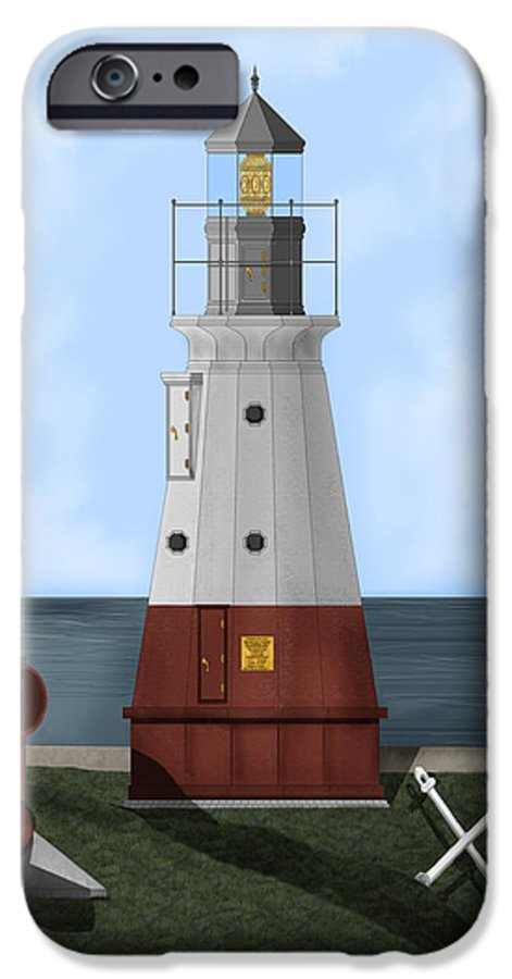 Lighthouse IPhone 6 Case featuring the painting Vermillion River Lighthouse On Lake Erie by Anne Norskog