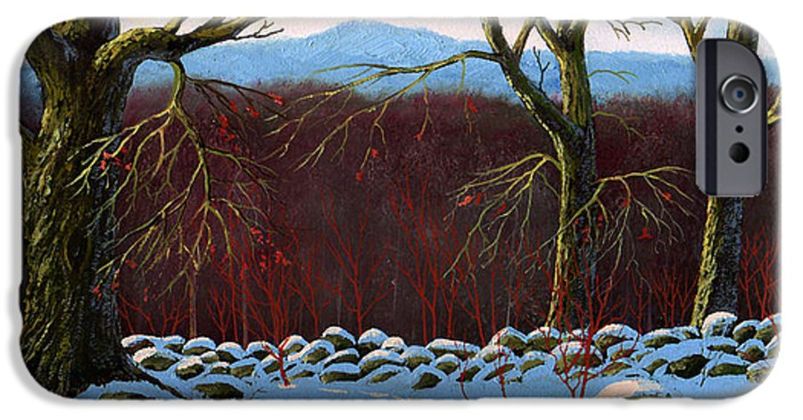 Landscape IPhone 6 Case featuring the painting Vermont Stone Wall by Frank Wilson