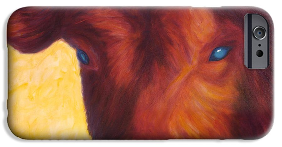 Bull IPhone 6 Case featuring the painting Vern by Shannon Grissom