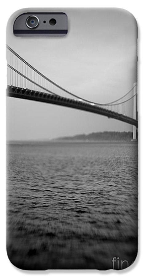 Black & White IPhone 6 Case featuring the photograph Verrazano Bridge 1 by Tony Cordoza