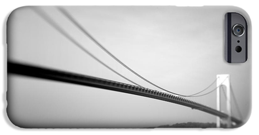 Black & White IPhone 6 Case featuring the photograph Verrazano Bridge 2 by Tony Cordoza