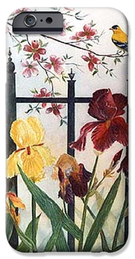 Irises; American Goldfinch; Dogwood Tree IPhone 6 Case featuring the painting Victorian Garden by Ben Kiger