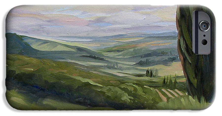 Landscape IPhone 6 Case featuring the painting View From Sienna by Jay Johnson