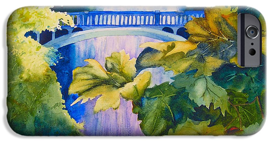 Waterfall IPhone 6 Case featuring the painting View Of The Bridge by Karen Stark