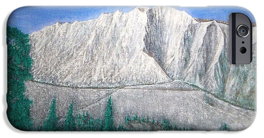 Snow IPhone 6 Case featuring the painting Viewfrom Spruces by Michael Cuozzo
