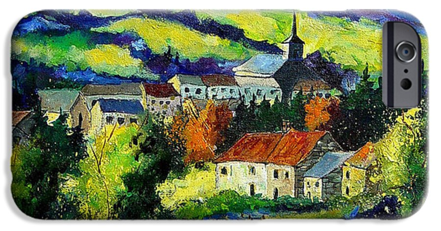Landscape IPhone 6 Case featuring the painting Village And Blue Poppies by Pol Ledent