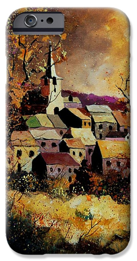 River IPhone 6 Case featuring the painting Village In Fall by Pol Ledent