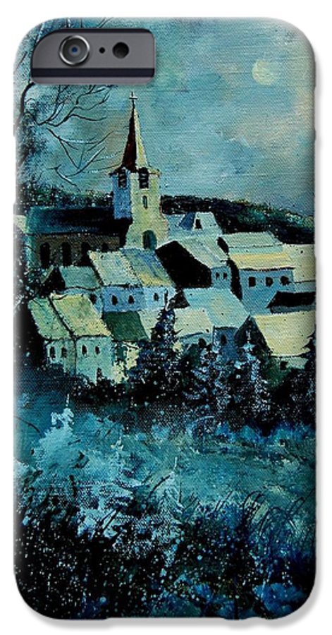 River IPhone 6 Case featuring the painting Village In Winter by Pol Ledent
