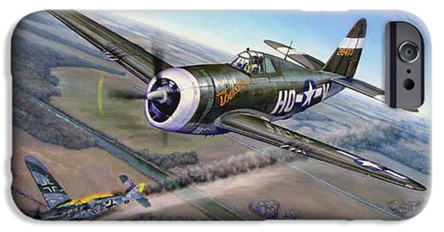 The 352nd Fighter Groups First Ace Shoots Down The German Ace Klaus Mietush On March 8th 1944 IPhone 6 Case featuring the painting Virgil Meroney Downs Klaus Mietush by Scott Robertson