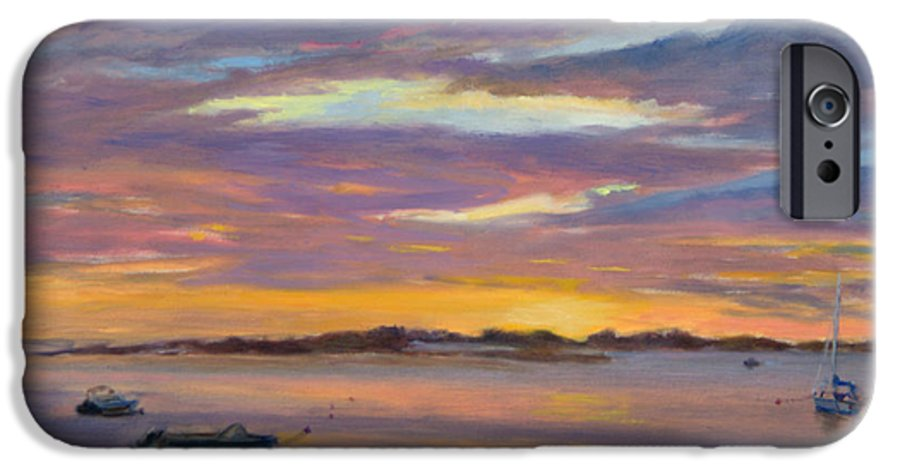 Landscape IPhone 6 Case featuring the painting Wades Beach Sunset by Phyllis Tarlow