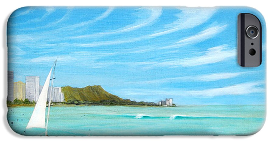 Waikiki IPhone 6 Case featuring the painting Waikiki by Jerome Stumphauzer