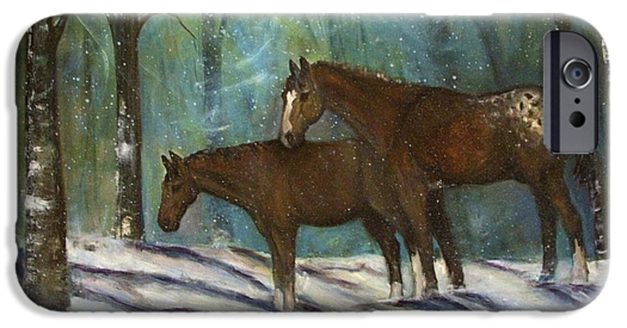 Horses IPhone 6 Case featuring the painting Waiting For Spring by Darla Joy Johnson