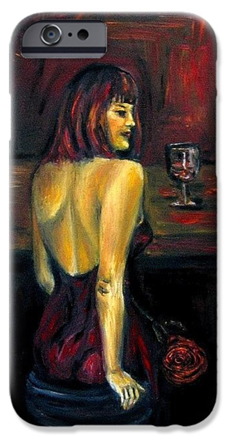 Woman IPhone 6 Case featuring the painting Waiting... Oil Painting  by Natalja Picugina
