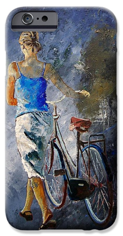 Girl IPhone 6 Case featuring the painting Waking Aside Her Bike 68 by Pol Ledent