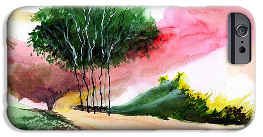 Watercolor IPhone 6 Case featuring the painting Walk Away by Anil Nene