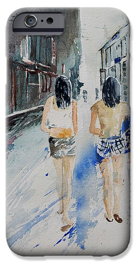 Girl IPhone 6 Case featuring the painting Walking In The Street by Pol Ledent