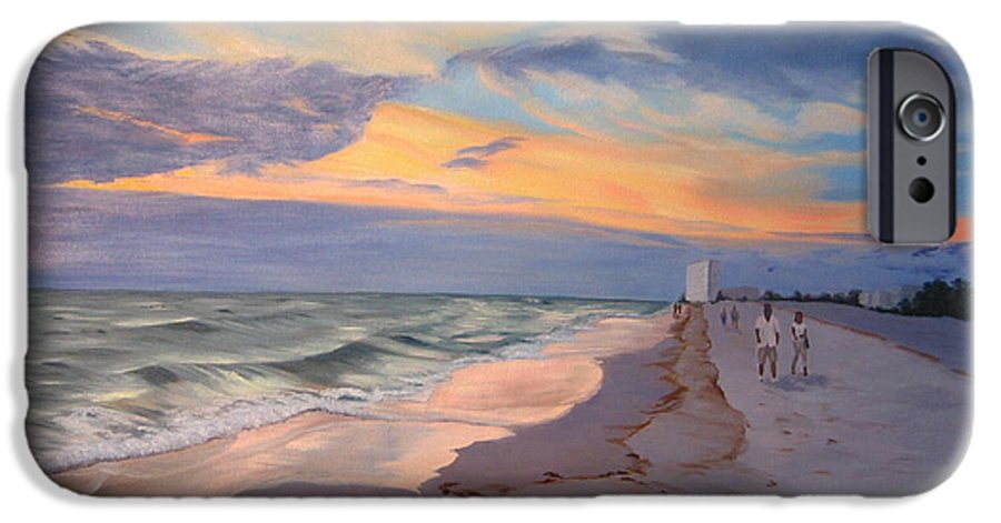 Seascape IPhone 6 Case featuring the painting Walking On The Beach At Sunset by Lea Novak
