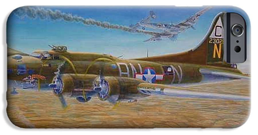 B-17 wallaroo Over Schwienfurt IPhone 6 Case featuring the painting Wallaroo At Schwienfurt by Scott Robertson