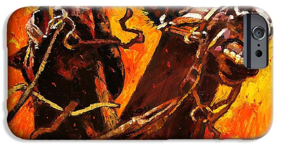 Horses IPhone 6 Case featuring the painting War Horses by John Lautermilch