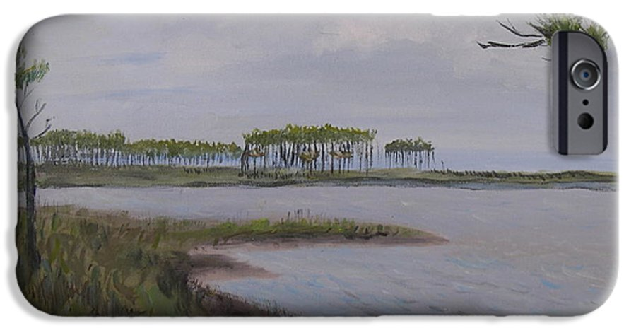 Landscape Beach Coast Tree Water IPhone 6 Case featuring the painting Water Color by Patricia Caldwell