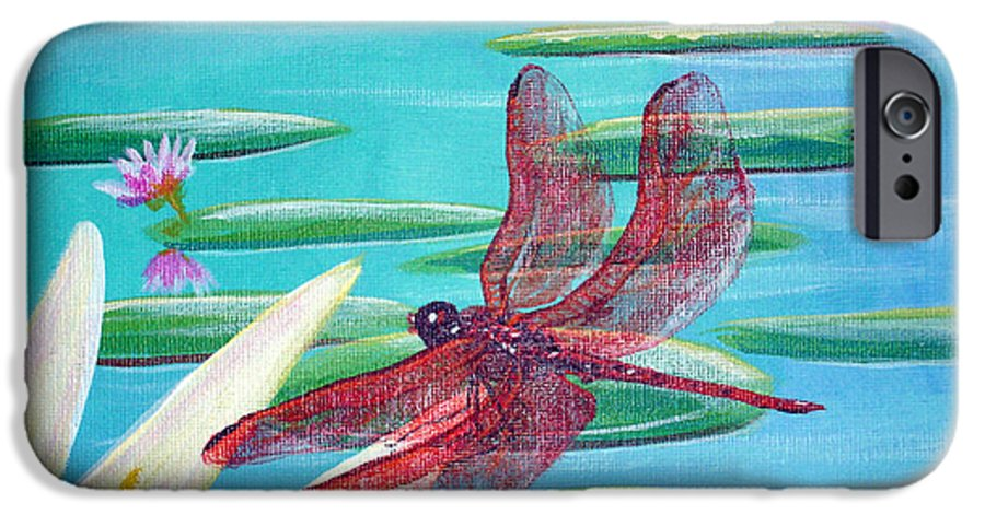 Water IPhone 6 Case featuring the painting Water Lilies And Dragonfly by Susan Kubes
