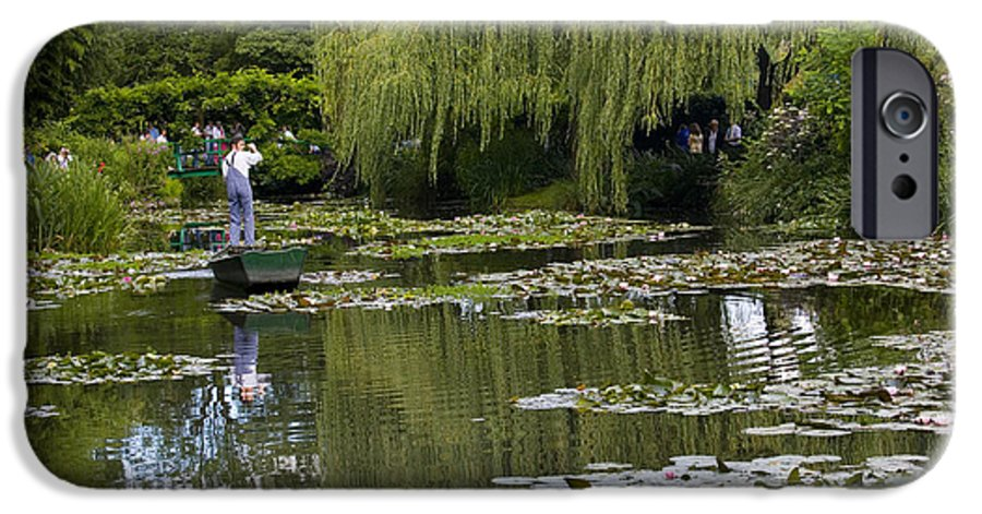 Monet Gardens Giverny France Water Lily Punt Boat Water Willows IPhone 6 Case featuring the photograph Water Lily Garden Of Monet In Giverny by Sheila Smart Fine Art Photography