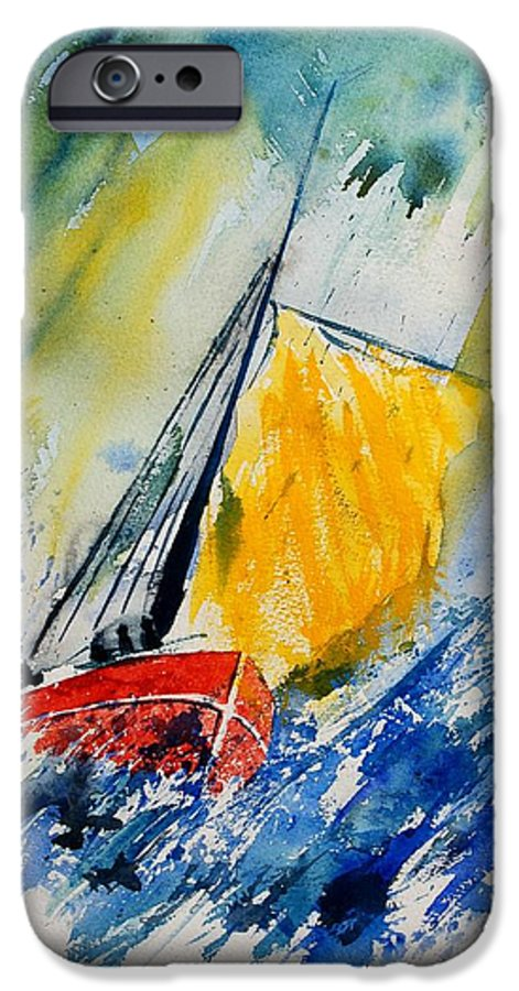 Sea Waves Ocean Boat Sailing IPhone 6 Case featuring the painting Watercolor 280308 by Pol Ledent