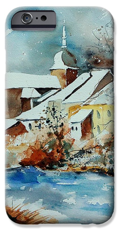 Landscape IPhone 6 Case featuring the painting Watercolor Chassepierre by Pol Ledent