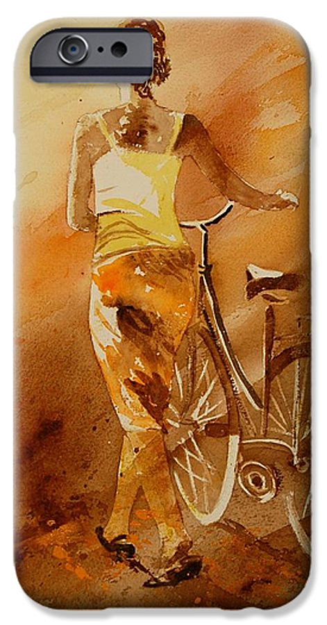 Figurative IPhone 6 Case featuring the painting Watercolor With My Bike by Pol Ledent