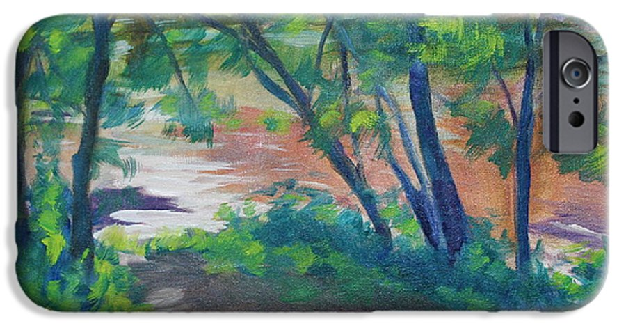 Landscape IPhone 6 Case featuring the painting Watercress Beach On The Current River  by Jan Bennicoff