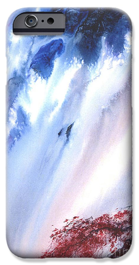A Waterfall- A Watercolor Painting IPhone 6 Case featuring the painting Waterfall by Mui-Joo Wee