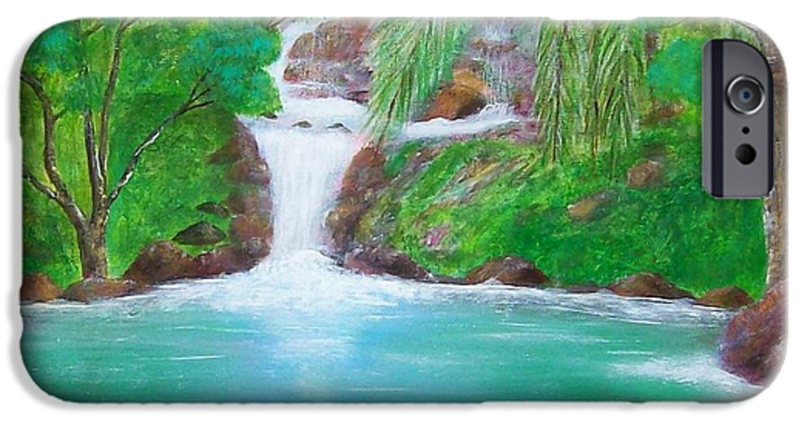 Waterfall IPhone 6 Case featuring the painting Waterfall by Tony Rodriguez
