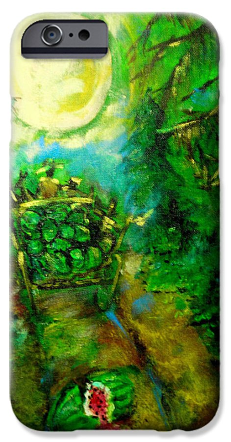 Watermelon Wagon Moon IPhone 6 Case featuring the painting Watermelon Wagon Moon by Seth Weaver