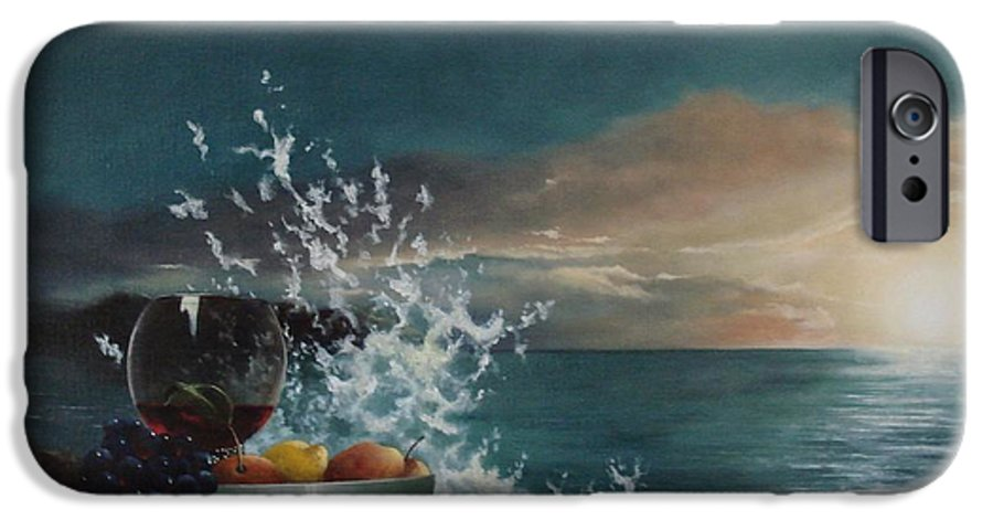 Seascape IPhone 6 Case featuring the painting Wave by Tjerk Reijinga