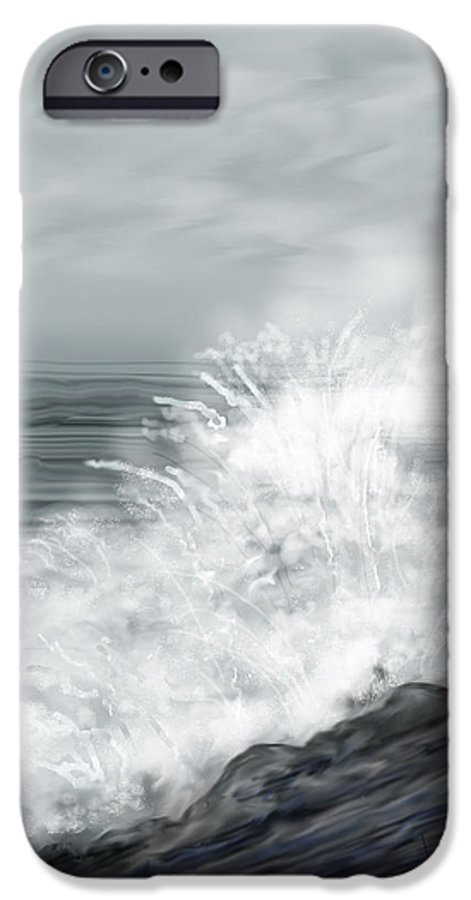 Seascape IPhone 6 Case featuring the painting Waves Crashing The Rocks In Ireland by Anne Norskog