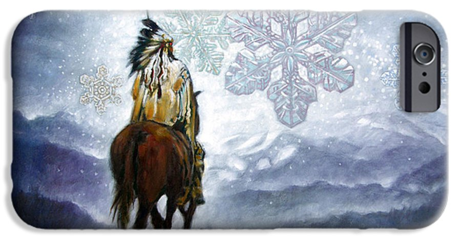 American Indian IPhone 6 Case featuring the painting We Vanish Like The Snow Flake by John Lautermilch