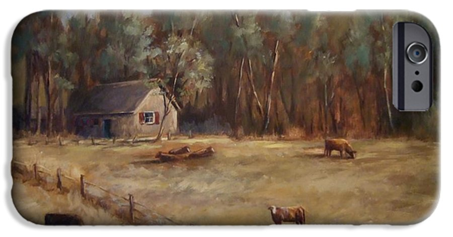 Landscape Cattle Hills Mountains Trees Sky Fence House IPhone 6 Case featuring the painting Weathered Shutters by Ruth Stromswold
