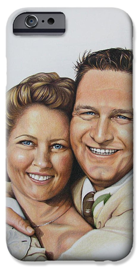 Wedding Portraits IPhone 6 Case featuring the drawing Wedding Portrait Jeremy N Katie by Joan Garcia