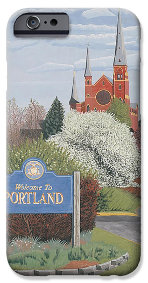 Church IPhone 6 Case featuring the painting Welcome To Portland by Dominic White
