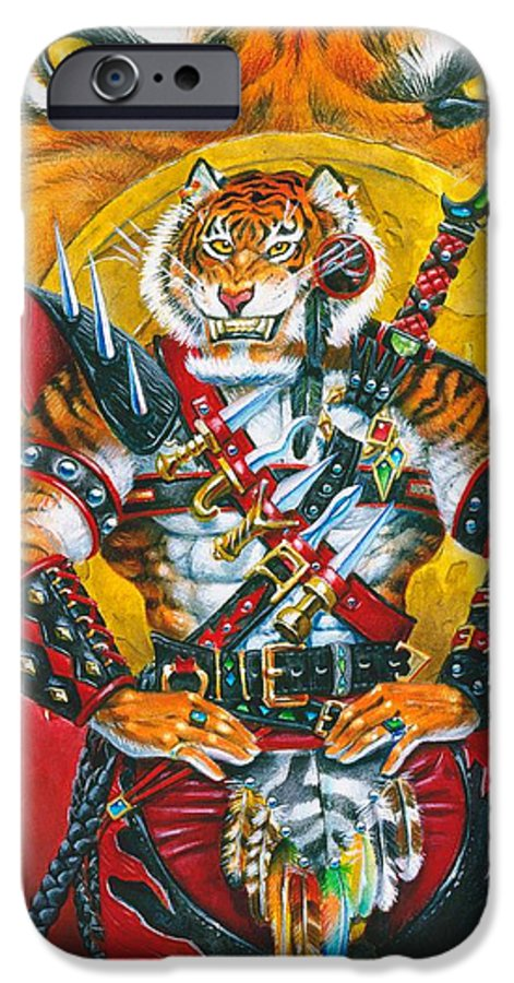 Fantasy IPhone 6 Case featuring the painting Werecat Warrior by Melissa A Benson