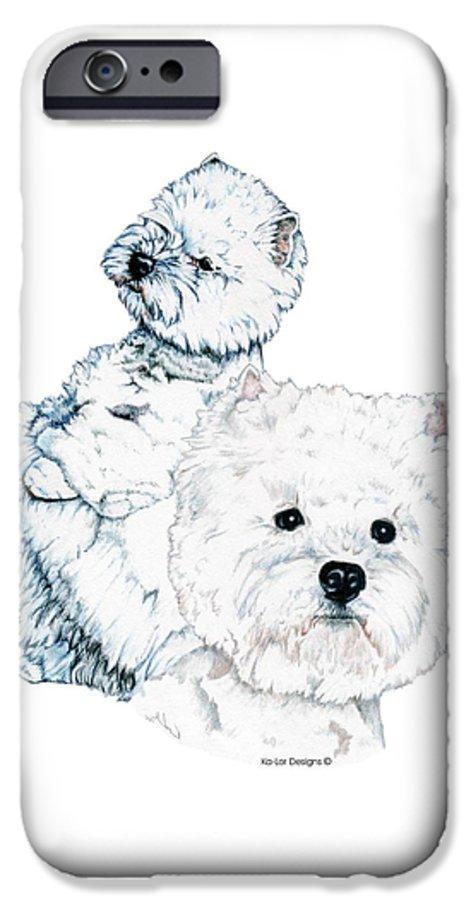 West Highland White Terrier IPhone 6 Case featuring the drawing West Highland White Terriers by Kathleen Sepulveda